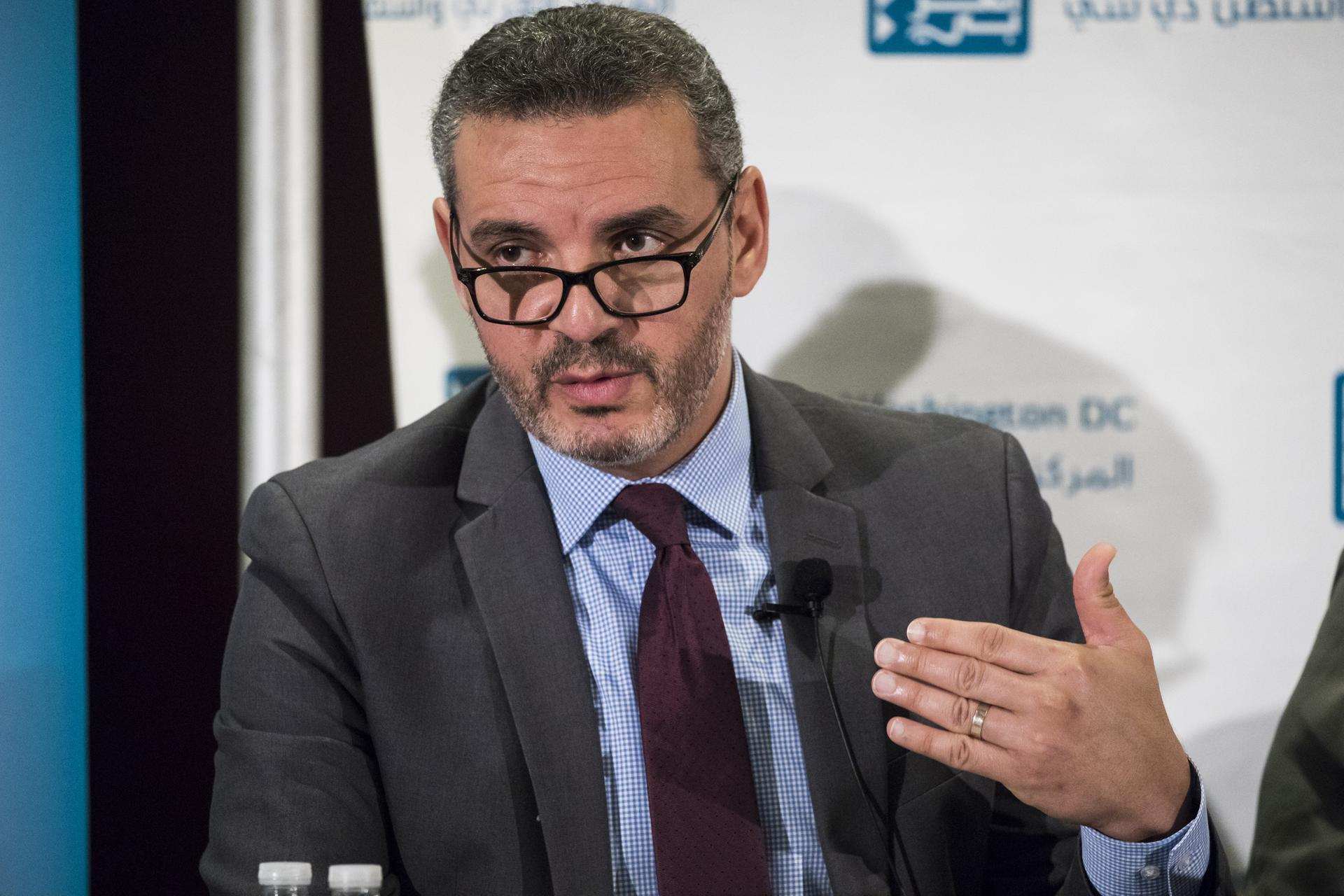 """WASHINGTON, USA - JUNE 6: Khaled Elgindy, from the Brookings Institute, speaks during the """"What's Next for Palestine and the Palestinians?"""" panel discussion hosted by The Arab Center in Washington, USA on June 6, 2017. (Photo by Samuel Corum/Anadolu Agency/Getty Images)"""